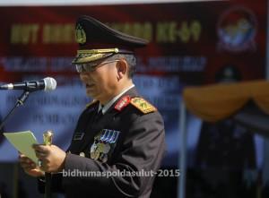Bertindak selaku Inspektur Upacara (Irup)  Kapolda Sulut, Brigjen Pol Drs. Wilmar Marpaung, S.H, dengan Komandan Upacara AKBP Arya Perdana.