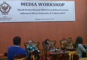 Kegiatan Media Workshop yang diselenggarakan BPK RI Perwakilan Sulut, Rabu (30/12) di Kantor BPK.