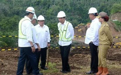 Presiden Joko Widodo Tinjau Pembangunan Bendungan Kuwil