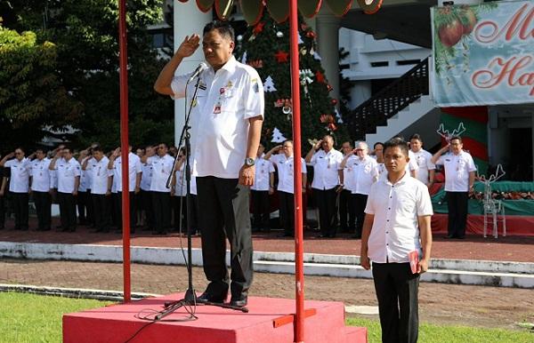 Gubernur Sulut saat jadi Irup pada Apel Perdana ASN tahun 2018