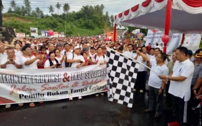 Gubernur OD Pimpin Jalan Sehat Pemilu Rukun Tanpa Golput