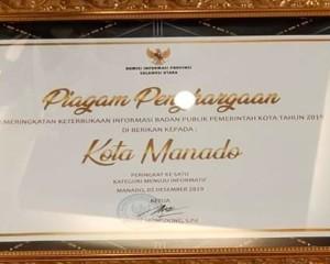Pemkot Manado Raih Penghargaan Keterbukaan Informasi Publik