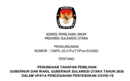 Menyikapi Wabah Covid-19, KPU Sulut Umumkan Penundaan Tahapan Pilgub Sulut 2020