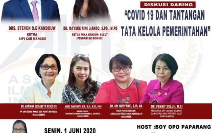 Bakal Dibuka Wagub Kandouw, AIPI Manado-PEKA Manguni Gelar Webkusi Covid 19 dan Tantangan Tata Kelola Pemerintahan