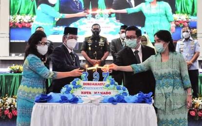 Rayakan HUT ke-397 Kota Manado Secara Virtual, Walikota GSVL: Puji Syukur Atas Penyertaan Tuhan