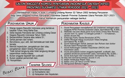 Rekrutmen Calon Anggota Komisi Penyiaran  Indonesia Daerah Provinsi Sulut 2021-2023