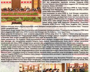 Rapat Paripurna DPRD Provinsi Sulawesi Utara Tetapkan Program Pembentukan Peraturan Daerah Tahun 2021 dan Ranperda APBD Provinsi Sulawesi Utara Tahun Anggaran 2021