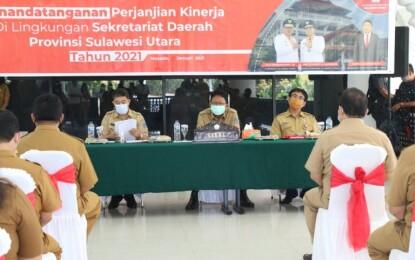 Sekdaprov Silangen Pimpin Penandatanganan PK di Lingkungan Setdaprov Sulut