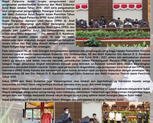 DPRD Sulut Gelar Rapat Paripurna Pengumuman Pemberhentian Gubernur dan Wakil Gubernur Sulut periode 2016/2021 Serta Usulan Pengangkatan Pasangan Cagub dan Cawagub Terpilih Tahun 2021
