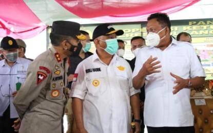 Gubernur Olly Tinjau Pos Penyekatan Larangan Mudik di Perbatasan Sulut-Gorontalo