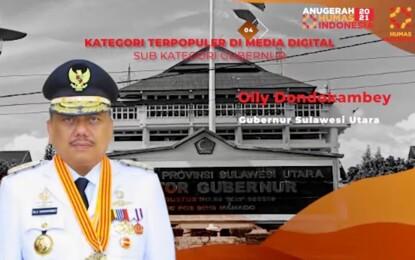 Olly Dondokambey Terima Sub Kategori Gubernur Terpopuler di Media Digital AHI 2021