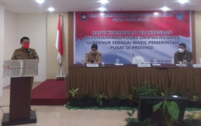 Asisten I Buka Rakor Pelaksanaan Dekonsentrasi Tugas dan Wewenang Gubernur sebagai Wakil Pemerintah Pusat